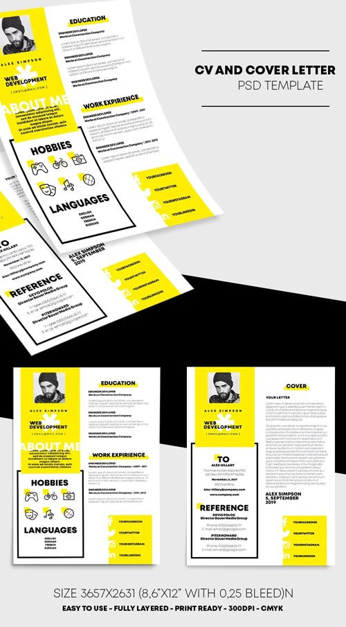 CV & Cover Letter Resume PSD Template Resume Templates