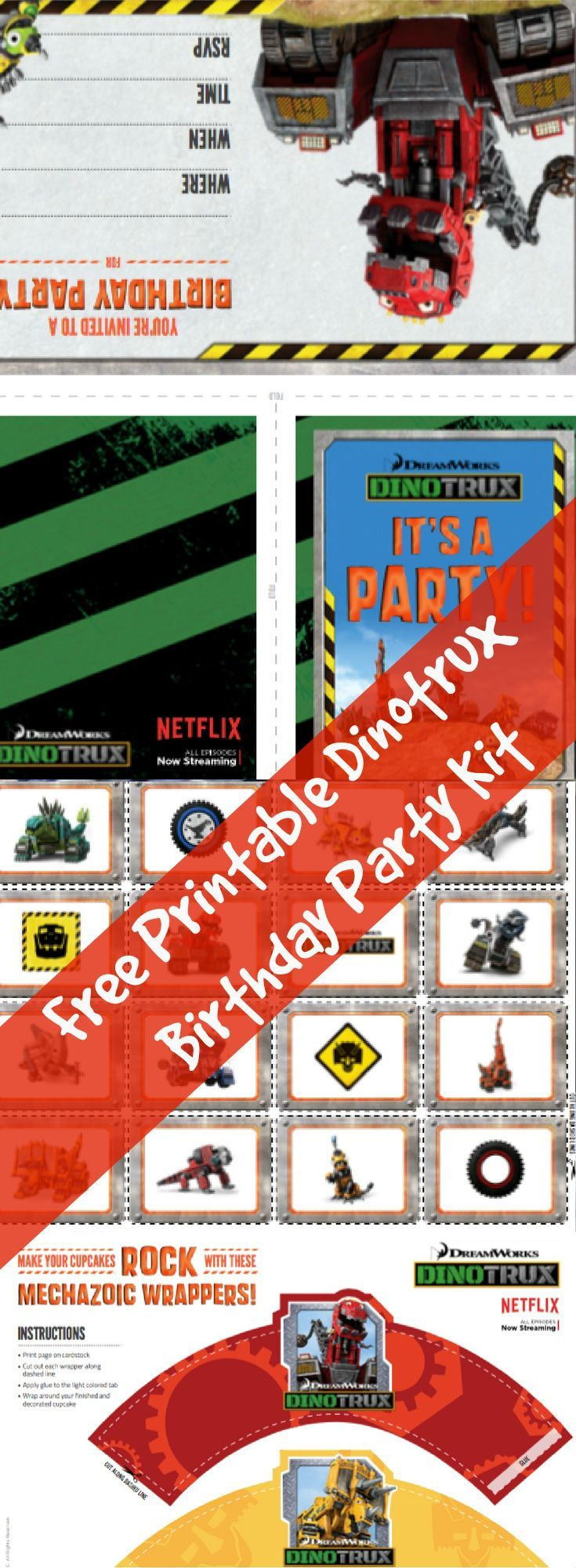 Free Printable Dinotrux Birthday Party Kit | Free Printables and ...