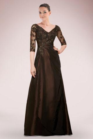Classic V-neck Full Length Taffeta Mother of Bride Dress Featuring Beaded Applique
