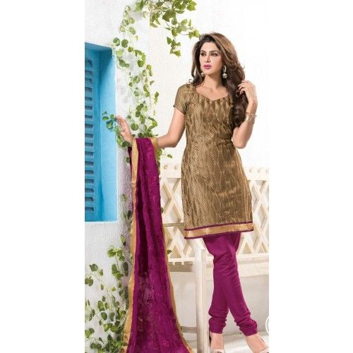 d269528c94 Unstitched Salwar Kameez- Brown with Purple color designer Unstitched  Churidar Material - By Thambi shopping
