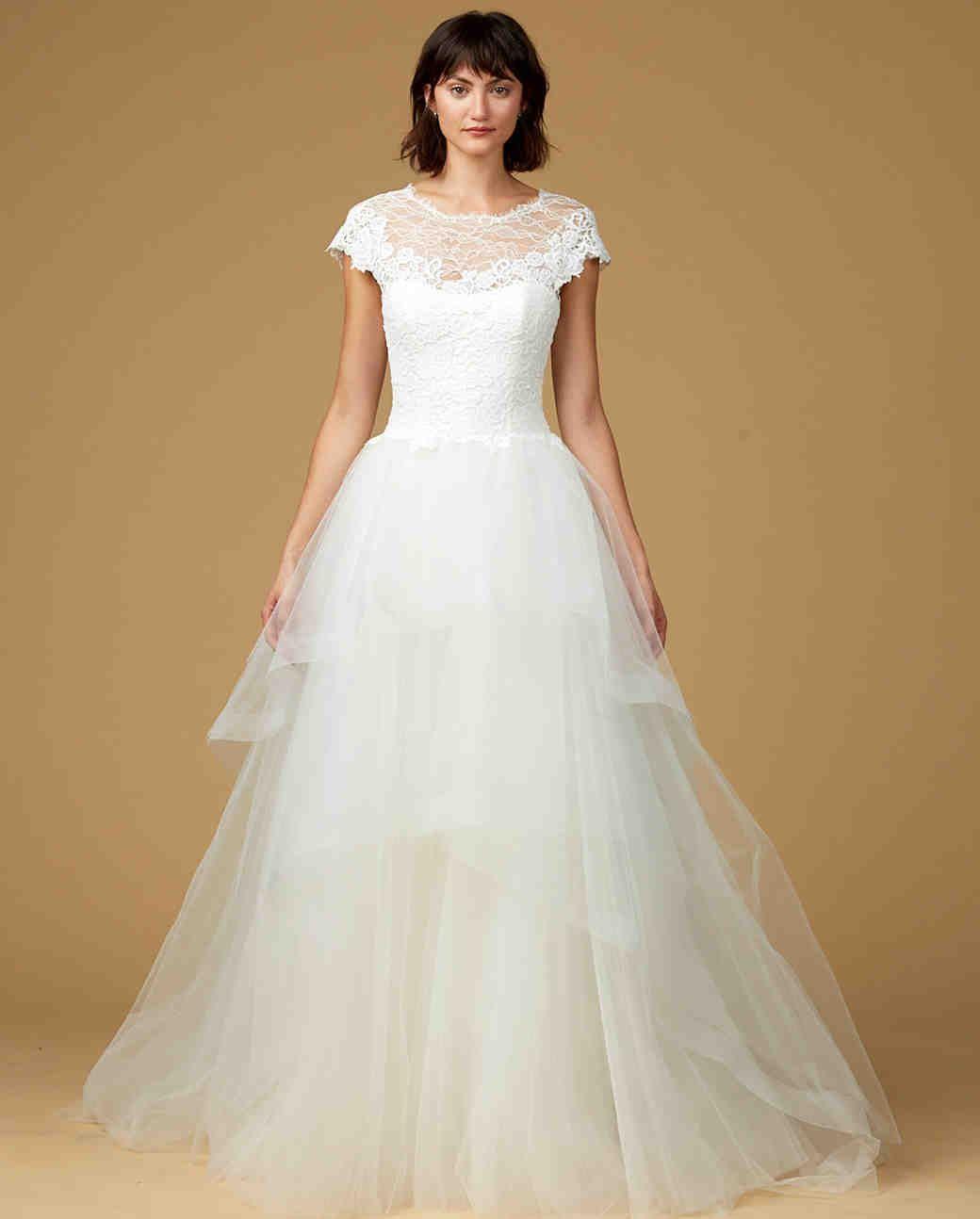 Amsale Nouvelle Fall 2017 Wedding Dress Collection | Martha Stewart Weddings – Short-sleeve ball gown wedding dress
