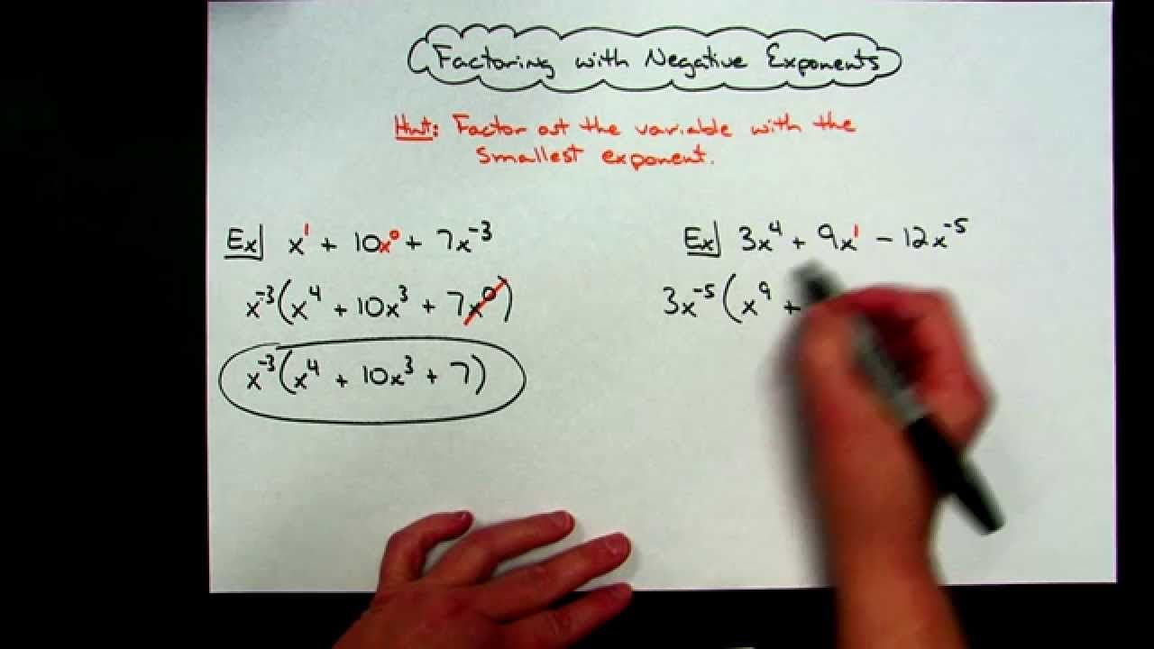 Factoring with negative exponents negative exponents