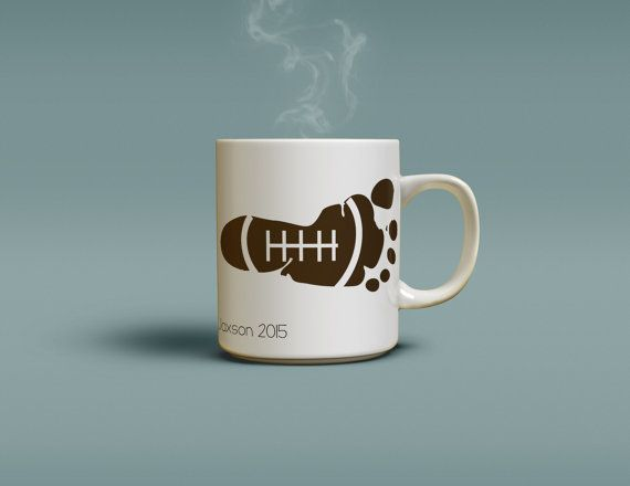 Football personalized coffee mug with your childs handprint and football personalized coffee mug with your childs handprint and footprint perfect gift for daddy or any sports fan negle Image collections