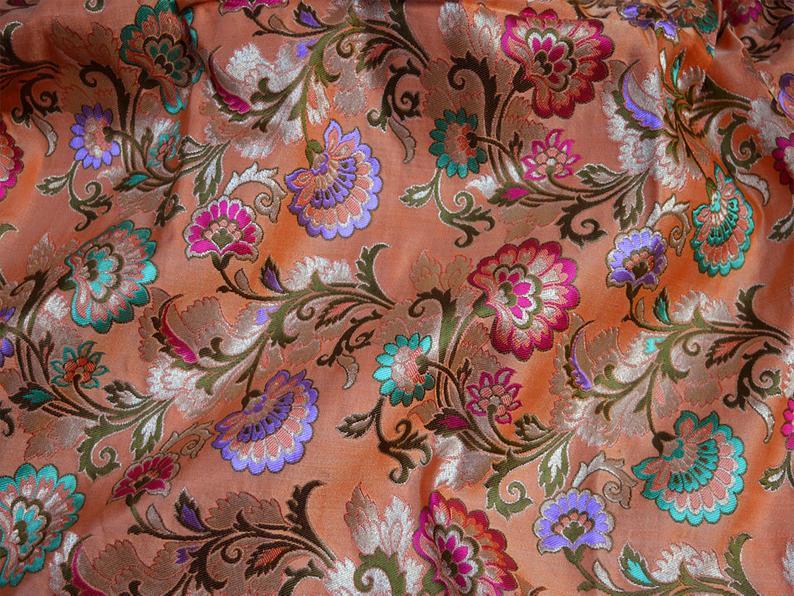 Peach Silk Jacquard Fabric By the yard Banarasi Fabric Banaras Silk Brocade Fabric Indian Silk Wedding Dress Fabric crafting Sewing