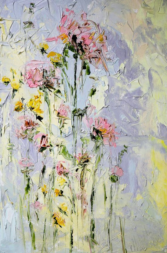 Oil painting original abstract mountain flowers rose on canvas palette knife painting modern flower painting art yellow grey wall art gray