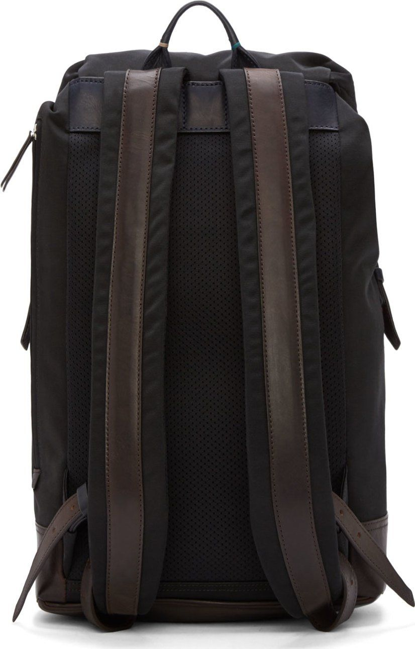 ead8e24eb7 Paul Smith Black Leather Trimmed Backpack
