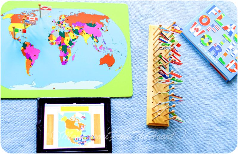Flag day montessori early childhood educational materials flag day montessori early childhood educational materials geography flag stand world map with flags gumiabroncs Gallery