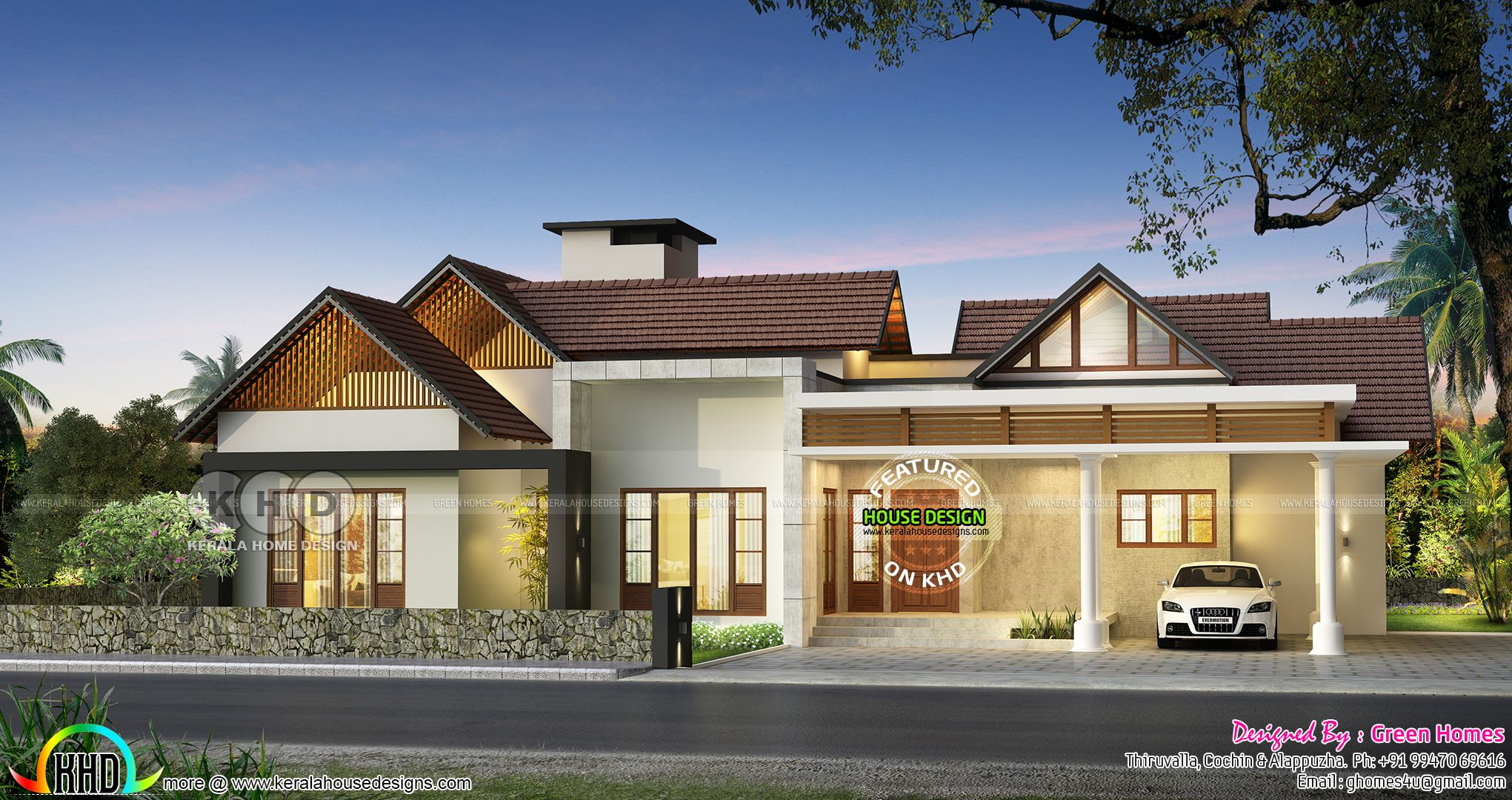 Big Single Floor House In Sloped Roof Style Single Floor House Design House Roof Kerala House Design