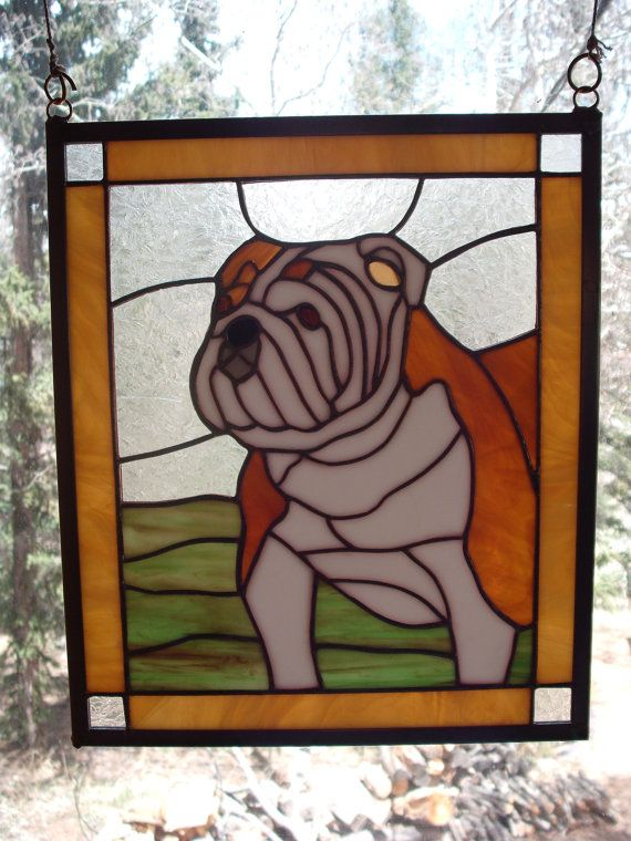 Bulldog Stained Glass Door Panel Designs