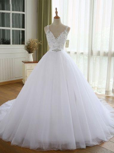 Weiße Brautkleider, Tüll Brautkleid, bescheidene Brautkleid, 11160