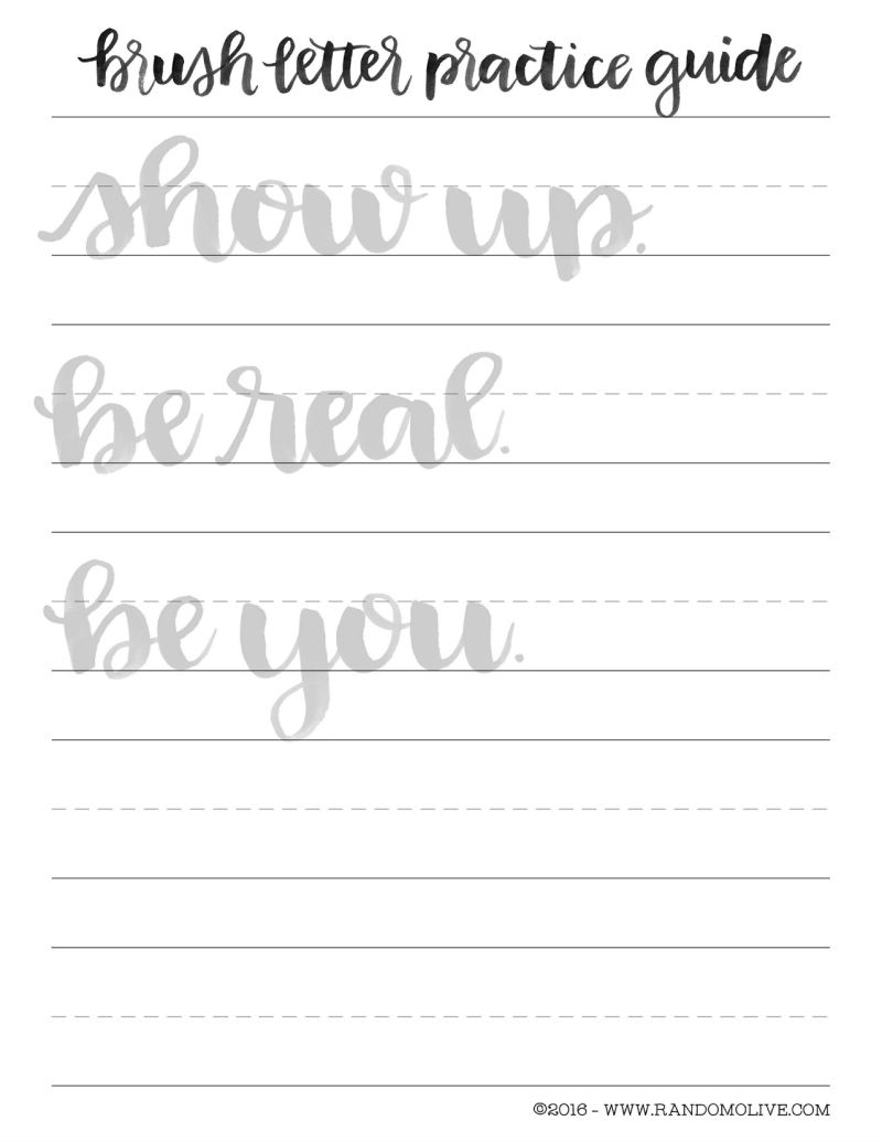 Légend image inside brush lettering practice sheets printable