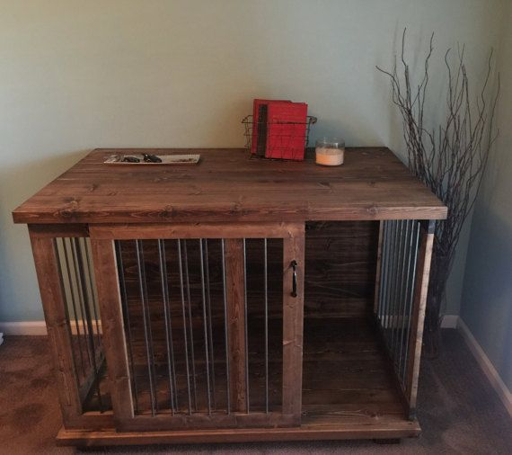 Custom Sliding Door Dog Kennel Coffee Or By Ingrainedbuilders Dog Crate Table Dog Crate Furniture Diy Dog Crate
