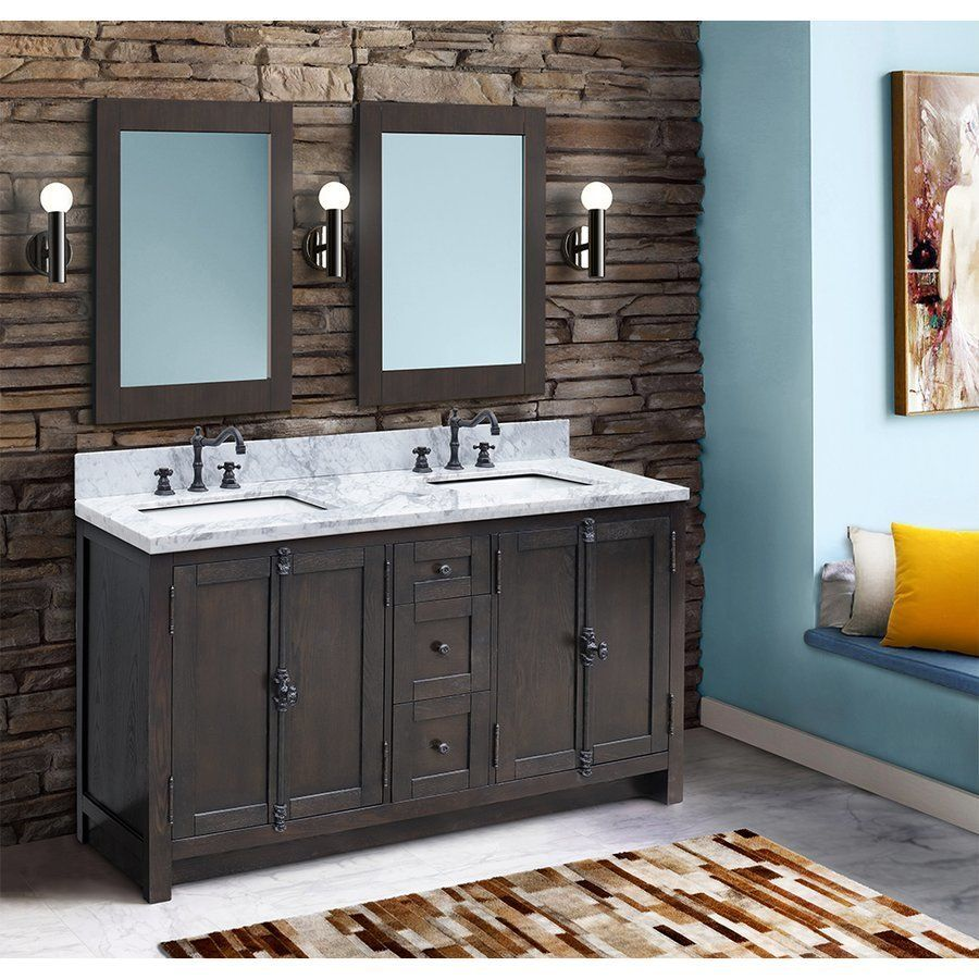 Bellaterra 55 Inch Walnut Double Sink Vanity With White Marble