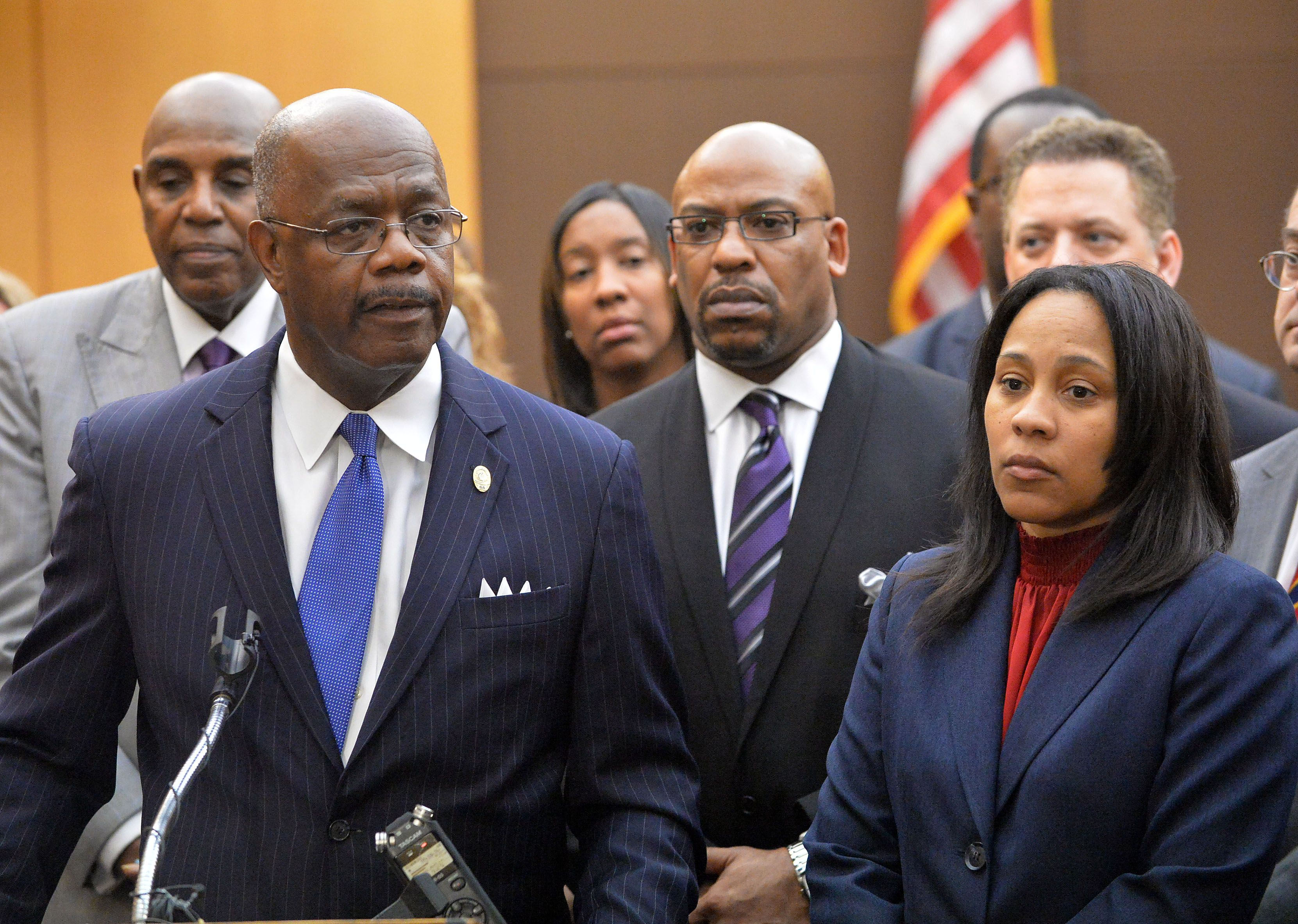 Fulton County District Attorney Paul Howard speaks during a press  conference in the courtroom following the