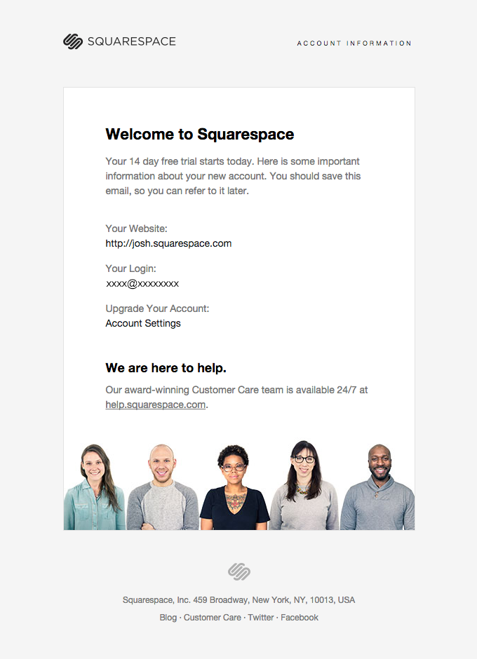Free trial welcome email from Squarespace   newslettter   Pinterest