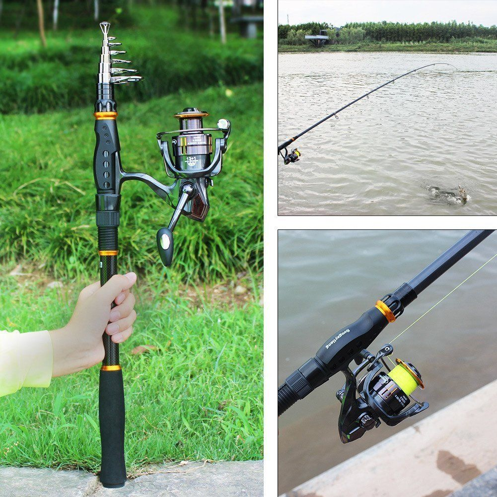Amazon Com Sougayilang Fishing Rod Reel Combos Carbon Telescopic Fishing Rod Pole With Spinnin Fishing Rod And Reel Combos Fishing Rod Telescopic Fishing Rod