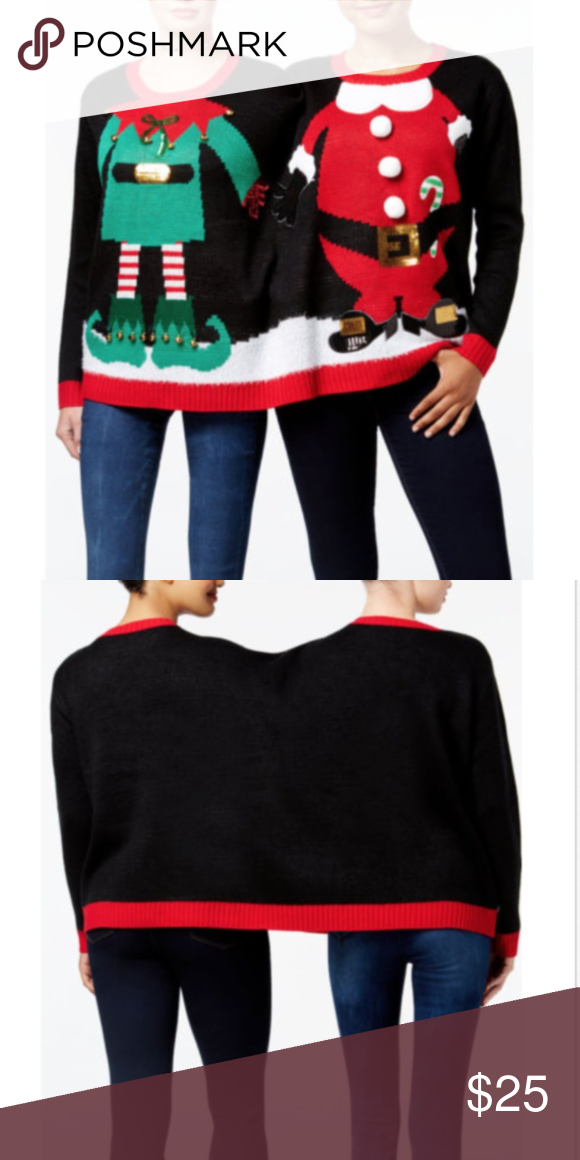 2 Person Santa Elf Ugly Christmas Sweater Funny Nwt My Posh
