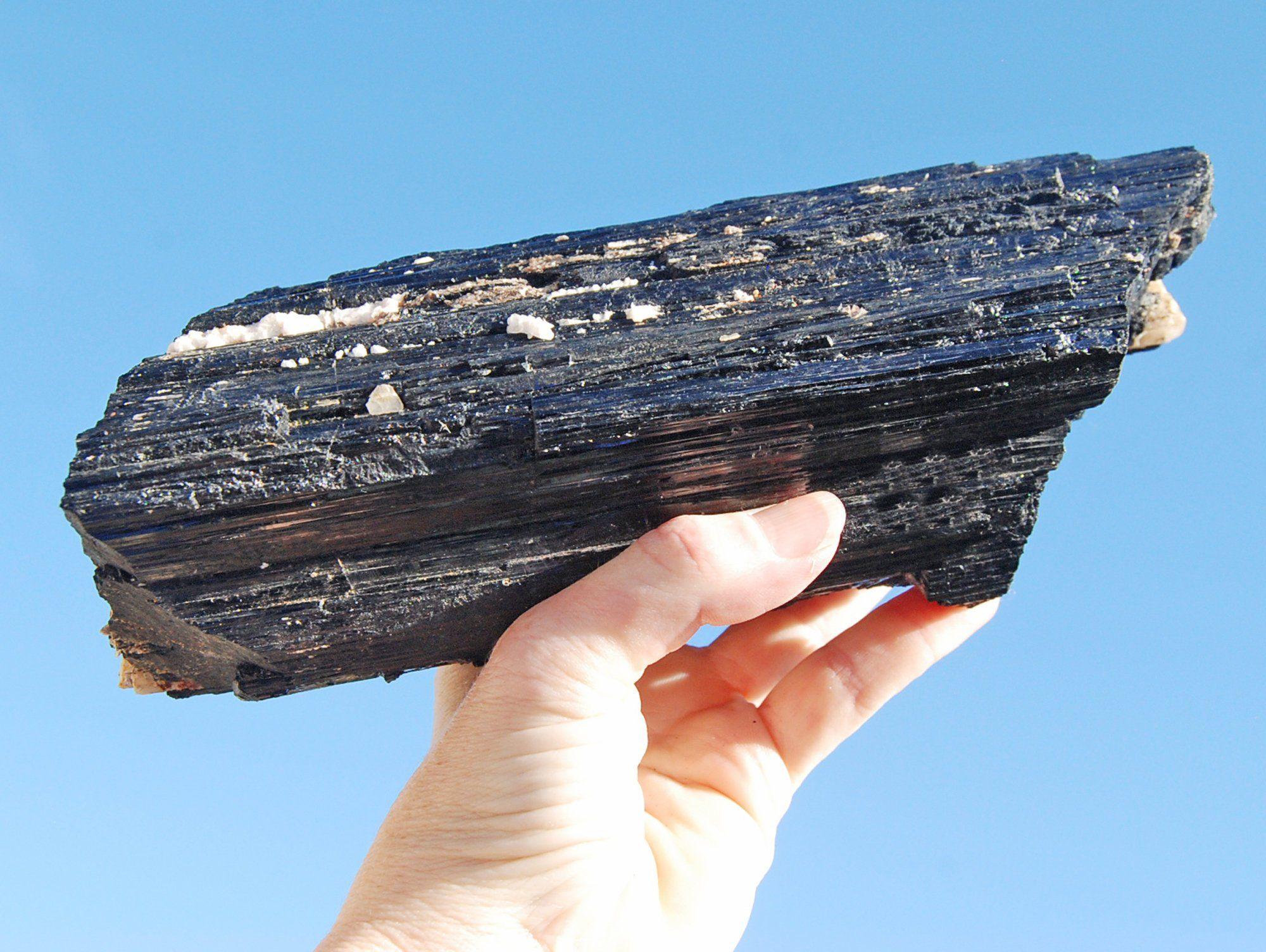 Black Tourmaline Crystal With Stand 4lbs Black Tourmaline