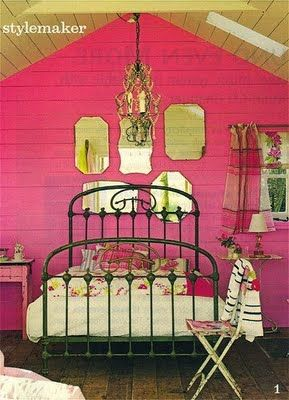 Wrought Iron Bed Pink Walls Hot Chic Bedroom Decor