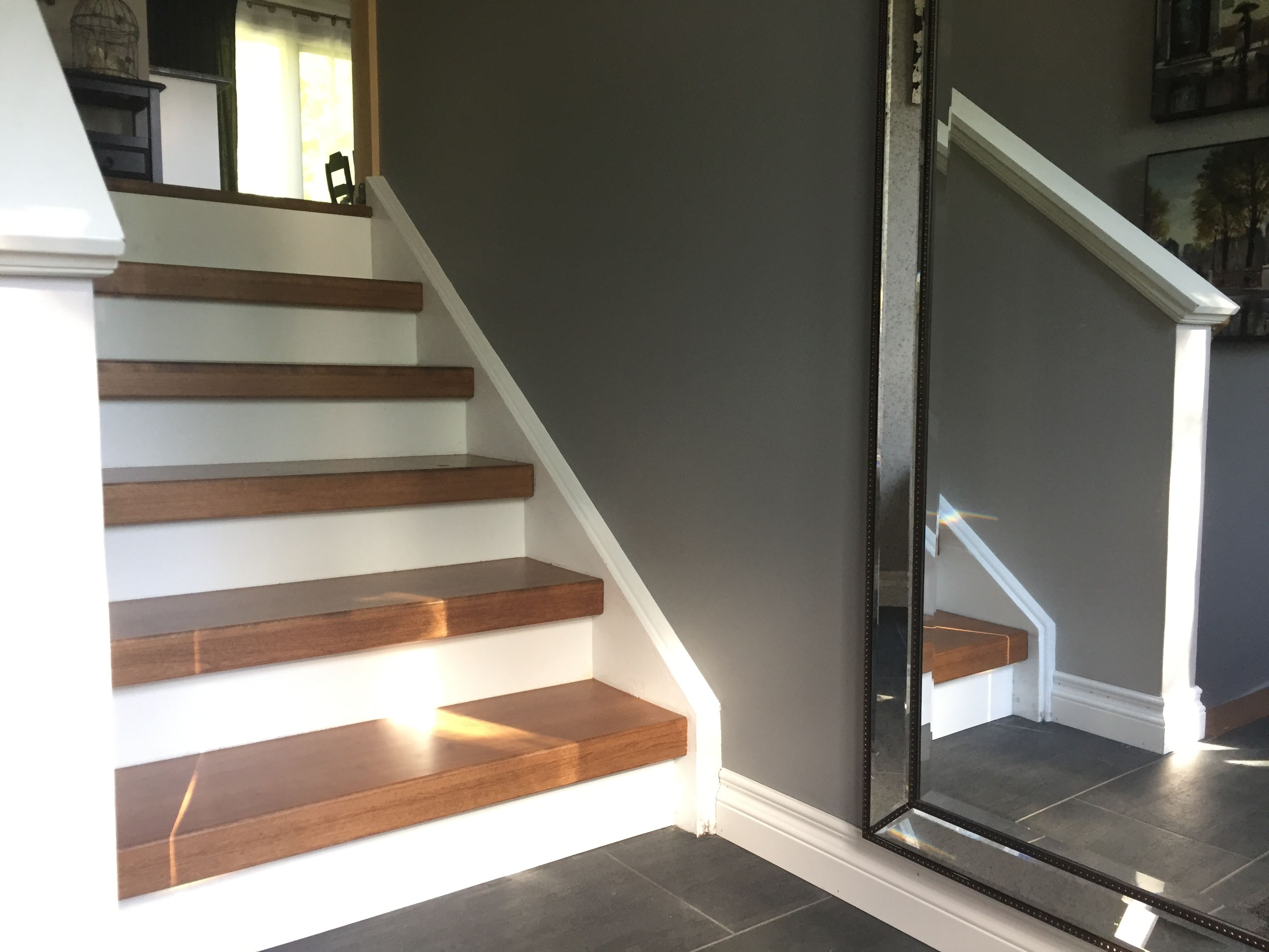 Best Stained Stair Treads With Painted White Stringers And 400 x 300