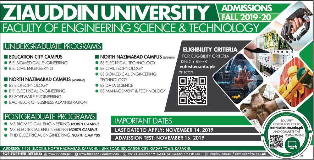 Ziauddin Medical University Admissions 2019 2020 Engineering