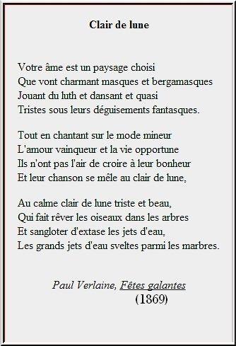 Clair De Lune Poème De Paul Verlaine 1869 Recherche Google