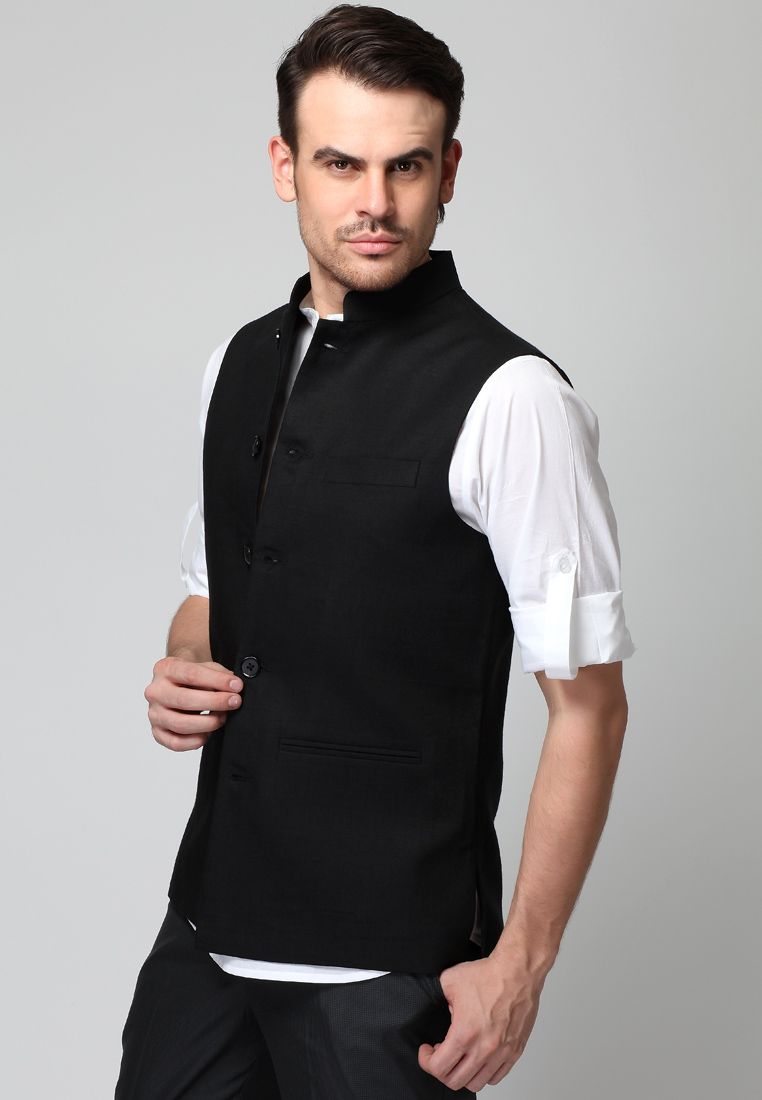 Black t shirt jabong - Sleeve Less Black Linen Waist Coat Mksp Buy Men S Coat Suits Online In India