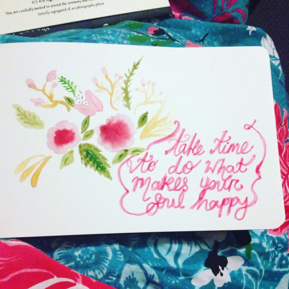 Watercolour floral and quote