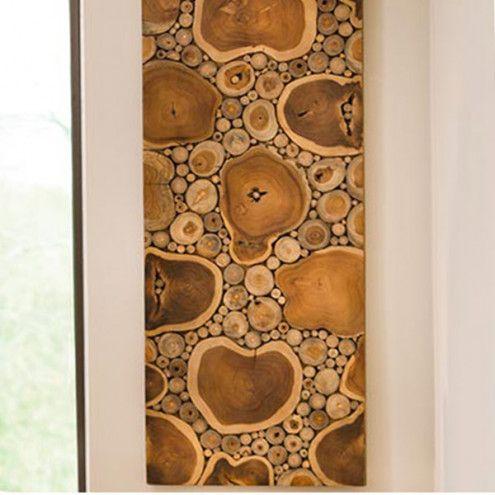 Sliced Teak Wood Panel Wall Art