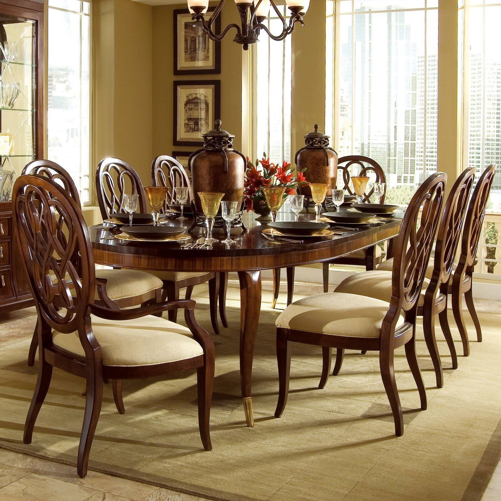 American Drew Bob Mackie Signature 9 pc. Oval Dining Table ...