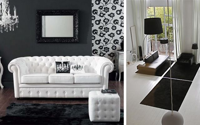 #Salon en blanco y negro #Salones  #Living_room