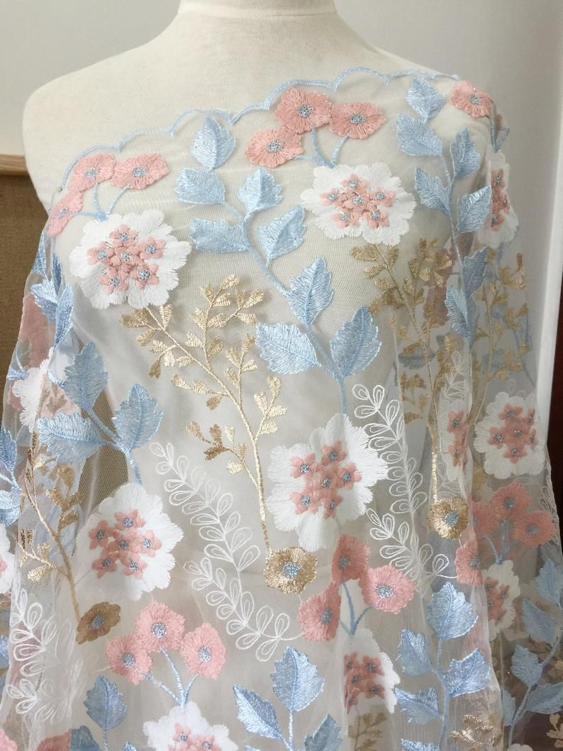Embroidered birds floral lace fabric nude tulle