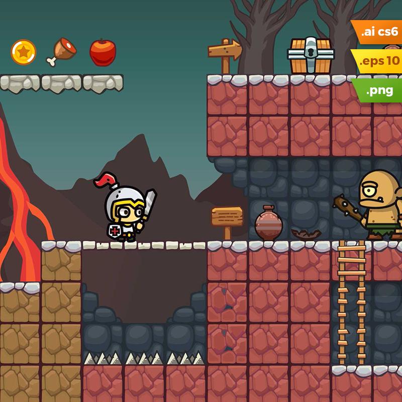Volcano Area Platformer Tileset | Game Assets FS | Free game