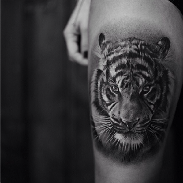 519f47864 Black and Grey Tiger Portrait | Tattoos | Tiger tattoo thigh, Tiger ...