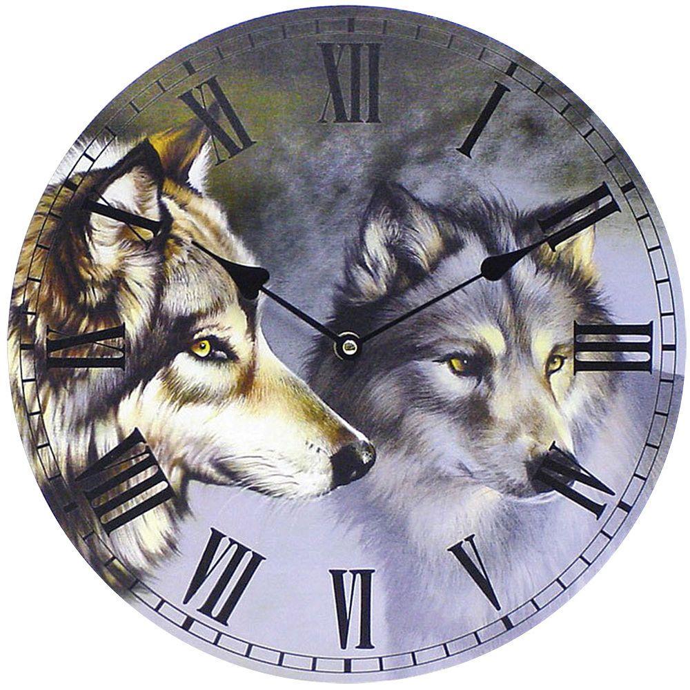 new wolf wall clock nature themed room decoration eye on wall clocks id=97773