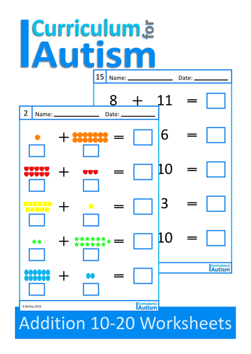 Addition 10-20 Worksheets, Autism, Special Education | Special ...
