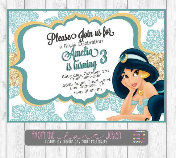 Disney Princess Jasmine Birthday Party Invitations Aladdin – Princess Jasmine Birthday Invitations