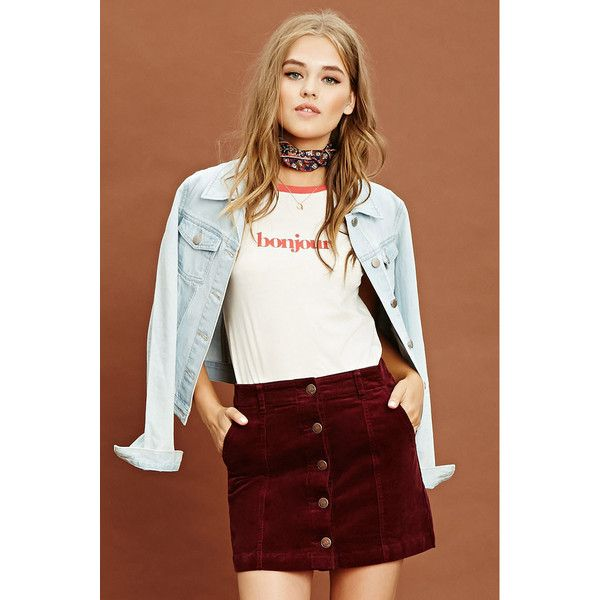 Forever21 Corduroy Buttoned Skirt ($20) ❤ liked on Polyvore featuring skirts,  mini skirts