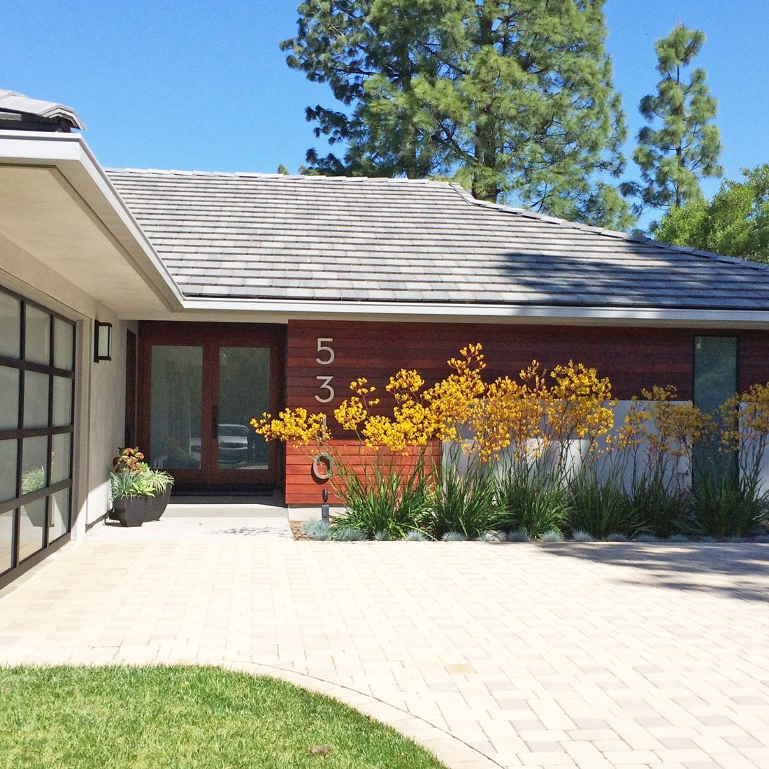 Stucco Exterior Ranch exterior remodel of ranch home with smooth grey stucco and ipe