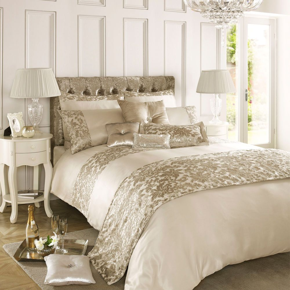 Kylie Minogue at Home Eloise Stone Gold Sequin Duvet Quilt Cover Bedding #KylieatHome