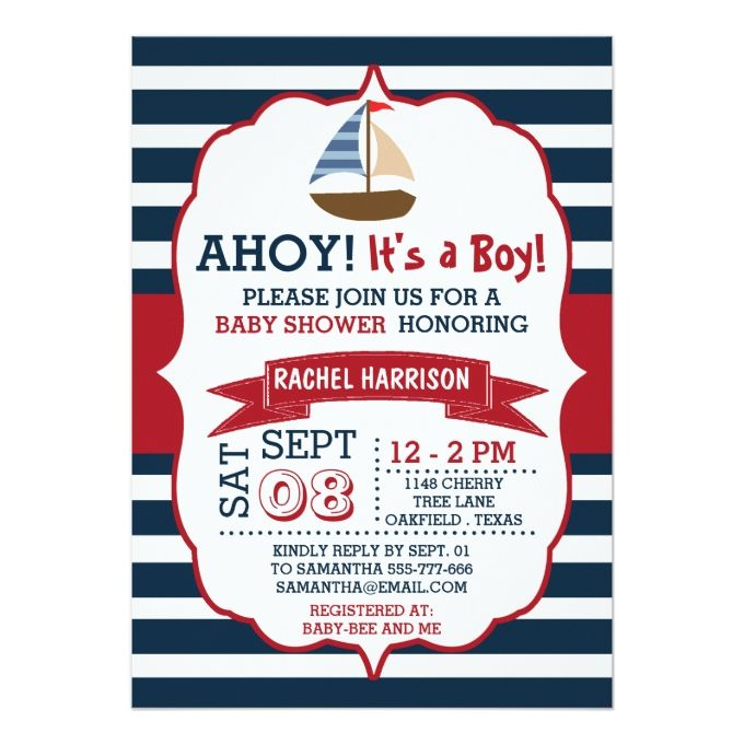 ahoy it's a boy! nautical boat baby shower invites | boys, babies, Baby shower invitations