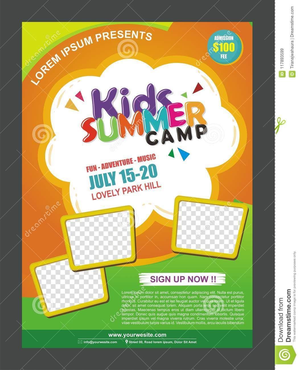 Kids Summer Camp Banner Poster Design Template For Kids For Summer Camp Brochure Free Brochure Template Brochure Templates Free Download Summer Camps For Kids Free summer camp flyer template