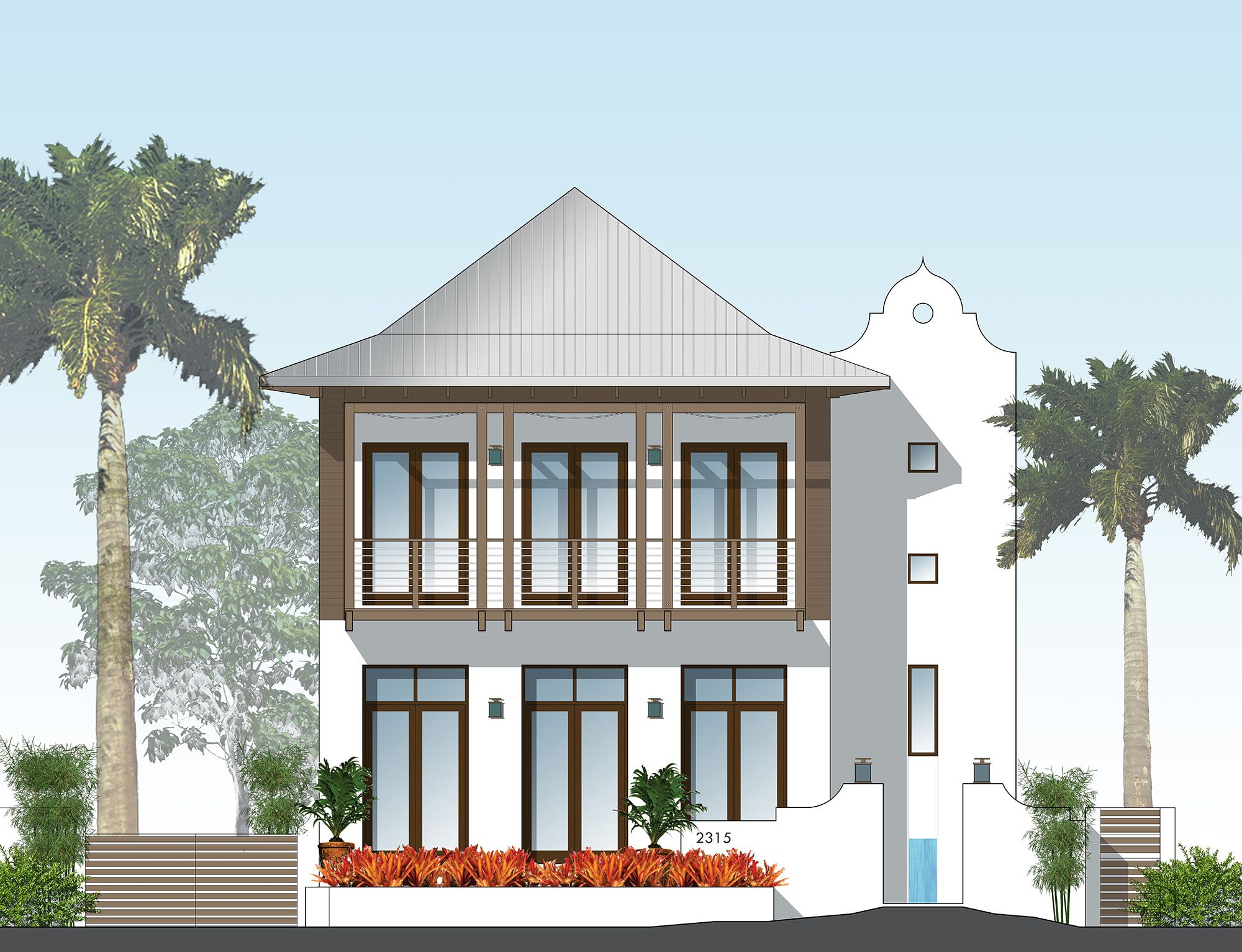 Front elevation french west indies architecture southern for Beach house elevation designs