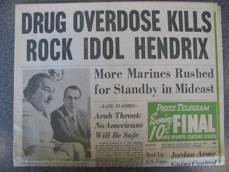 Jimi Hendrix became the top headline of the day. | Jimi hendrix, Hendrix, Jimi  hendrix death