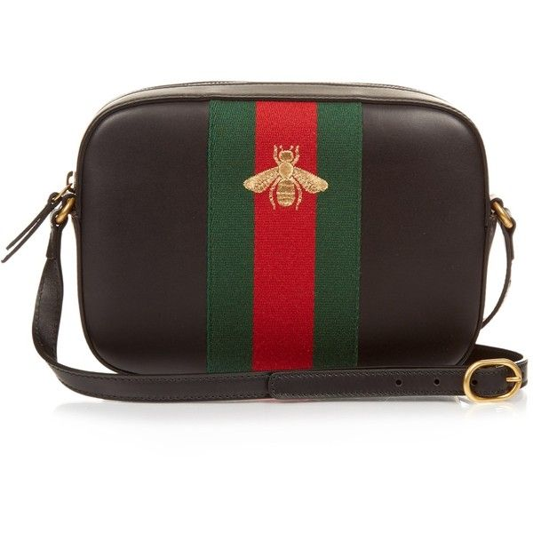 da1813bc2 Gucci Line bee-embroidered leather cross-body bag ($1,190) ❤ liked on  Polyvore featuring bags, handbags, shoulder bags, gucci, leather crossbody  purse, ...