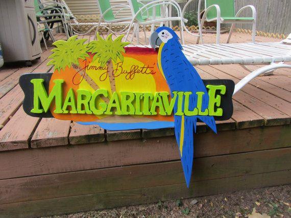 Tropical Surfboard Sign Margaritaville Parrot Beer Wall Plaque Tiki Bar Wood  39