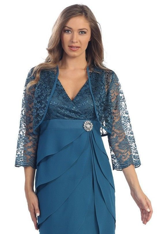 Long Modest Mother of the Bride Dresses Teal Lace Jacket Plus Size Formal Gown Jacket Sale