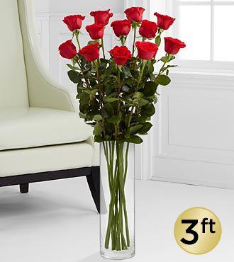 3 Foot Roses Valentines Flowers Anniversary Flowers Rose Vase