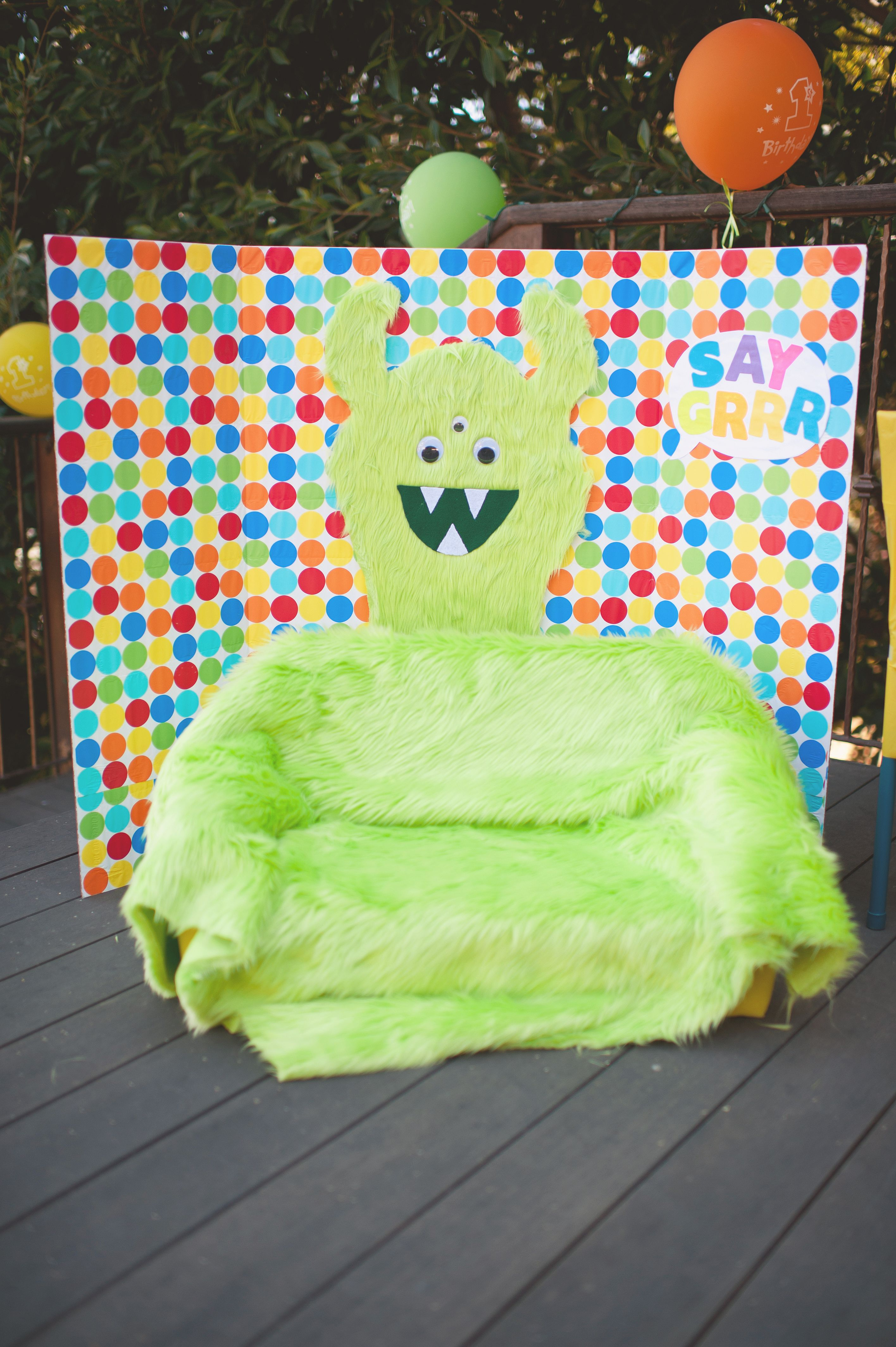 DIY Monster Theme Kids Photo Booth I Made This For My Sons 1st Birthday Party