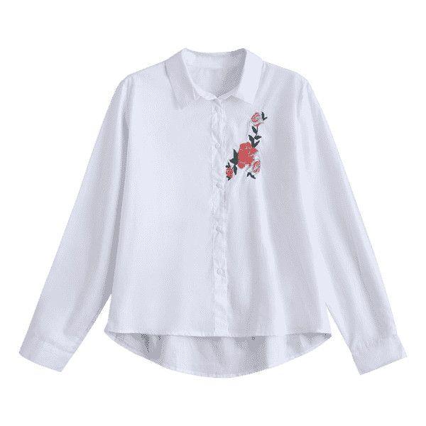 pas de calais embroidered button down blouse
